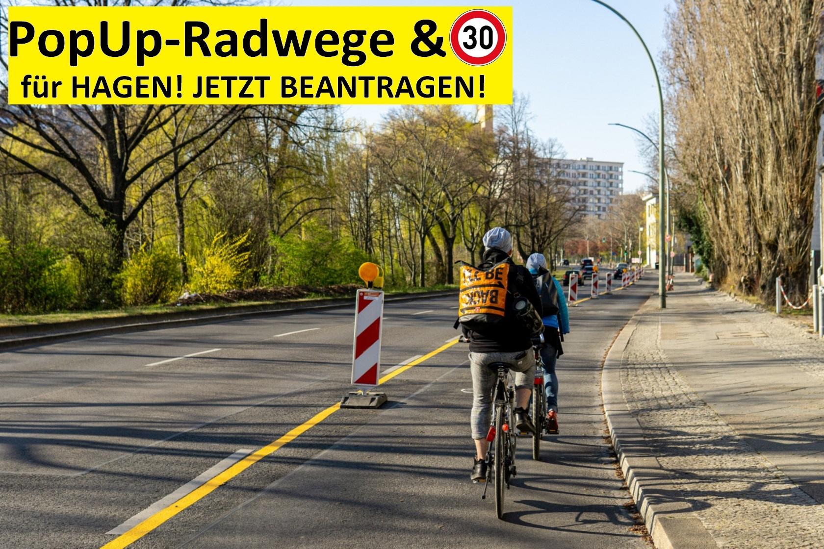 Pop-Up Radweg mit Radfahrenden